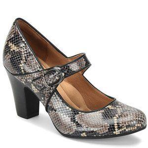 Sofft Miranda Snake Print Leather Mary Jane Heels